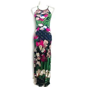 Mary Katrantzou Maxi Dress Green Pink Floral